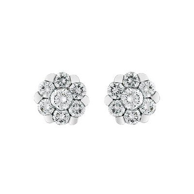 Topos en oro blanco de 18 Kilates rodinado margarita con diamantes en decoracion de 0.70Ct peso total, con broche tipo mariposa, de la colección flores para ti