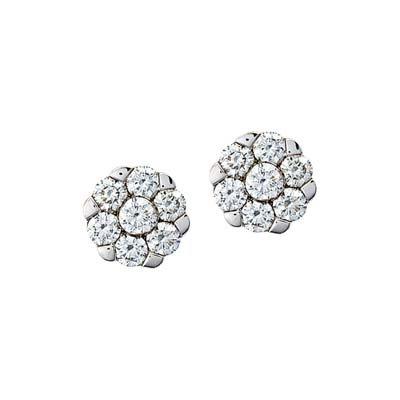 Topos en oro blanco de 18 Kilates rodinado margarita con diamantes en decoracion de 0.25Ct peso total, con broche tipo mariposa, de la colección flores para ti