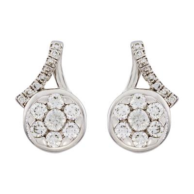 Topos en oro blanco de 18 Kilates, Flor, con 30 diamantes en decoracion de 0.30 Quilates, con broche tipo: Mariposa, de la coleccion: Flores para ti