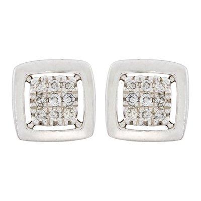 Topos en oro blanco de 18 Kilates cuadrado con diamantes en decoracion de 0.05Ct peso total