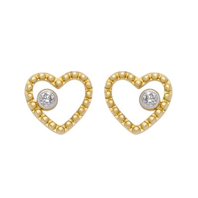Topos en oro blanco de 18 Kilates corazon con diamantes en decoracion de 0.04Ct peso total, con broche tipo mariposa