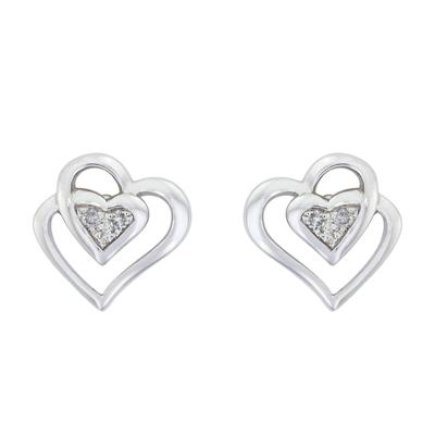 Topos en oro blanco de 18 Kilates rodinado corazon con diamantes en decoracion de 0.03Ct peso total