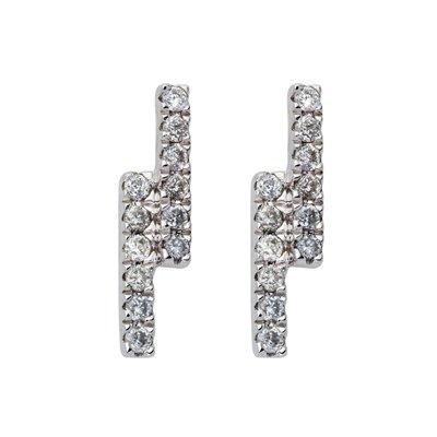 Topos en oro blanco de 18 Kilates rodinado barras con diamantes en decoracion de 0.18Ct peso total