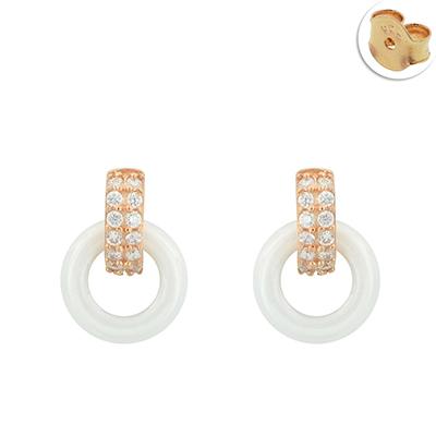 Topos en plata Ley 925, Diseño, con cristales en decoracion, con broche tipo: Mariposa, de la coleccion: Sueños