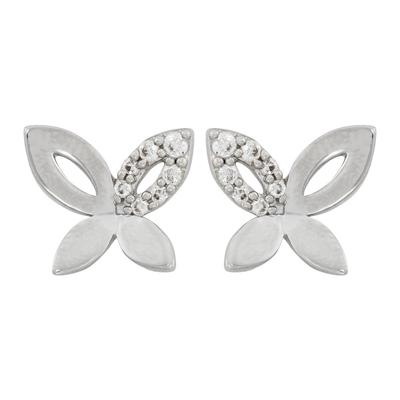 Topos en plata Ley 925 rodinado mariposa con zircon, con broche tipo mariposa, de la colección sueños