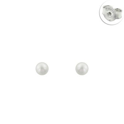 Topos en plata Ley 925 con perla sintetica de 6 milímetros de ancho de la colección sueños