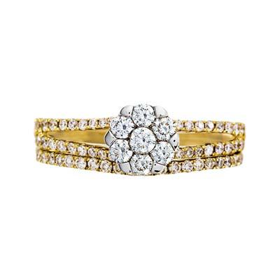 Set de matrimonio en oro amarillo de 18 Kilates con 63 diamantes de 0.55 Ct Peso Total de la colección flores para ti.
