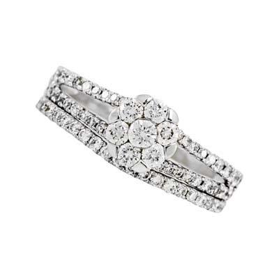 Set de matrimonio en oro blanco de 18 Kilates con 63 diamantes de 0.55 Ct Peso total de la colección flores para ti.
