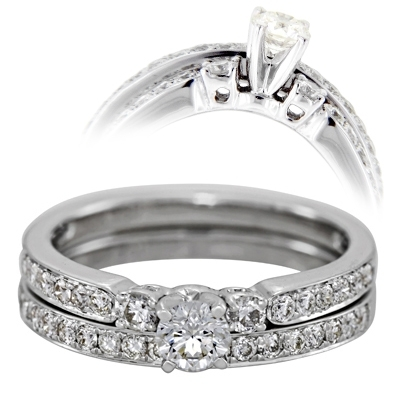 Set de matrimonio en oro blanco de 18 Kilates con diamante central de 0.20 Ct y diamantes en decoración de 0.40 Ct Peso total.