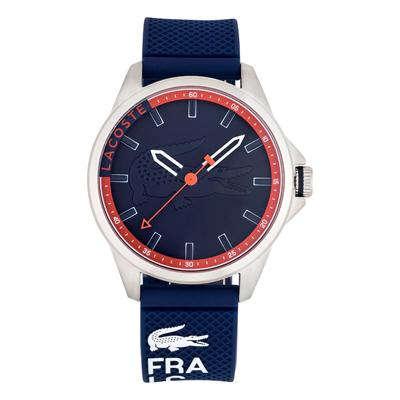 Reloj Lacoste analogo, para Hombre, tablero redondo colores azul y rojo, estilo index, pulso silicona colores azul y rojo