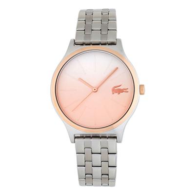 Reloj Lacoste analogo, para Dama, tablero redondo color rosa, estilo index, pulso metalico color plateado