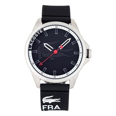 Reloj Lacoste analogo, para Hombre, tablero redondo colores negro y blanco, estilo index, pulso silicona colores negro y blanco
