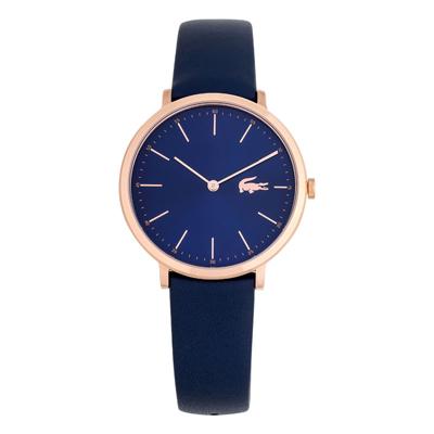 Reloj Lacoste analogo, para Dama, tablero redondo color azul, estilo index, pulso cuero color azul