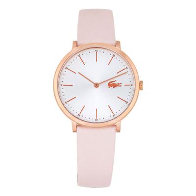Reloj Lacoste analogo, para Dama, tablero redondo colores plateado y rosa, estilo index, pulso cuero colores rosa y rosado