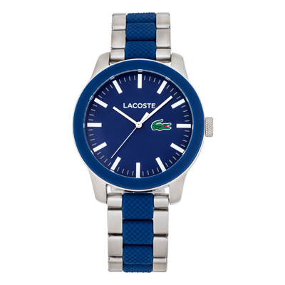 Reloj Lacoste analogo, para Hombre, tablero redondo colores azul y blanco, estilo index, pulso metalico colores plateado y azul