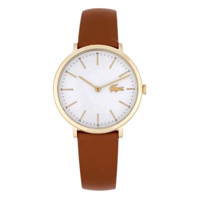 Reloj Lacoste analogo, para Dama, tablero redondo color blanco, estilo index, pulso cuero color café