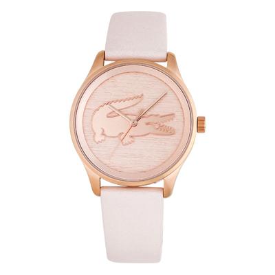 Reloj Lacoste analogo, para Dama, tablero redondo colores rosado y rosa, estilo sin numeros, pulso cuero sintetico color rosado