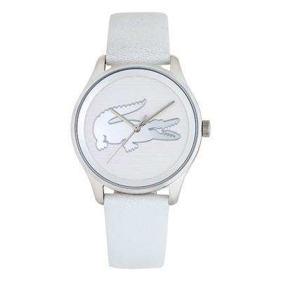 Reloj Lacoste analogo, para Dama, tablero redondo colores blanco y plateado, estilo sin numeros, pulso cuero color blanco