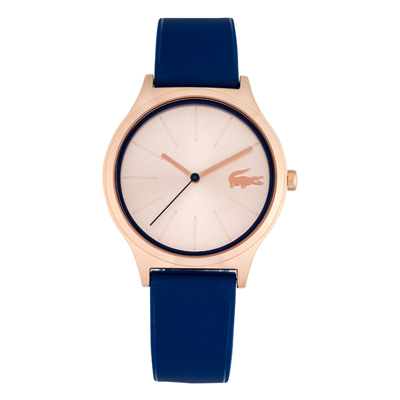 Reloj Lacoste analogo, para Dama, tablero redondo color rosa, estilo index, pulso silicona color azul