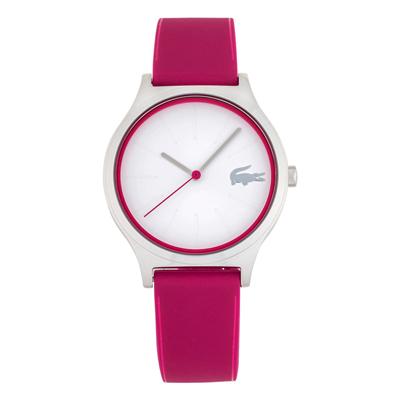 Reloj Lacoste analogo, para Dama, tablero redondo color blanco, estilo index, pulso silicona color rosado