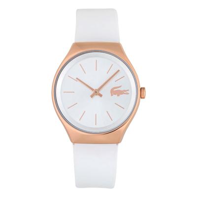Reloj Lacoste analogo, para Dama, tablero redondo colores blanco, plateado y rosa, estilo index, pulso silicona color blanco