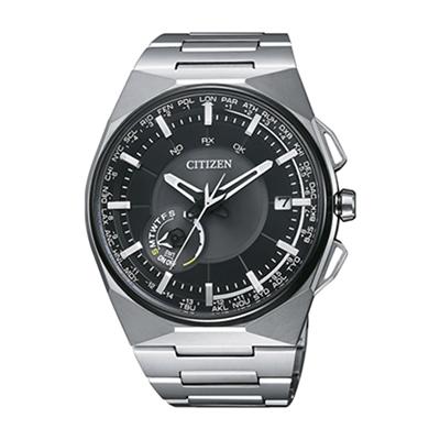 Reloj para Hombre, tablero redondo, negro+, puntos, analogo, pulso titanium metalico, calendario