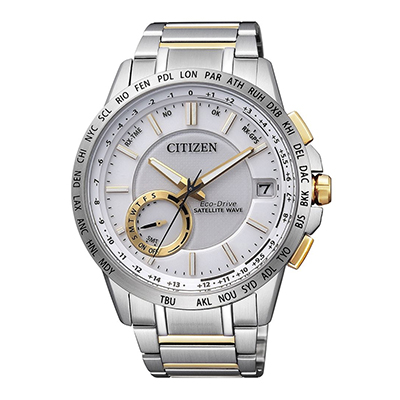 Reloj Citizen analogo, para Hombre, tablero redondo color blanco, estilo puntos, pulso metalico color plateado, calendario