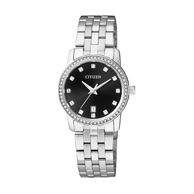 Reloj para Dama, tablero redondo, negro, puntos, analogo, pulso metalico metalico, calendario