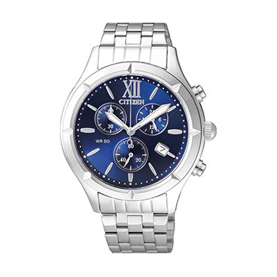 Reloj para Dama, tablero redondo, azul, puntos, analogo, pulso metalico metalico, calendario, cronografo