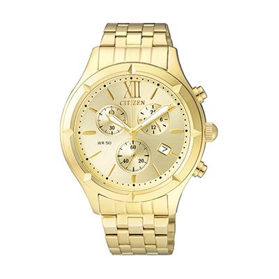 Reloj para Dama, tablero redondo, dorado, puntos, analogo, pulso metalico metalico, calendario