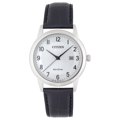 Reloj para Hombre, tablero redondo, silver, puntos, analogo, pulso cuero negro, calendario