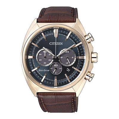 Reloj para Hombre, tablero redondo, azul, puntos, analogo, pulso cuero cafe, calendario, cronografo