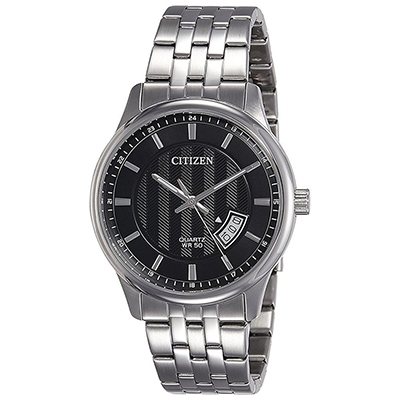 Reloj Citizen analogo, para Hombre, tablero redondo color negro, estilo index, pulso acero color plateado, calendario