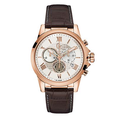 Reloj Guess colection analogo, para Hombre, tablero redondo color blanco, estilo index + romano, pulso cuero color café, calendario