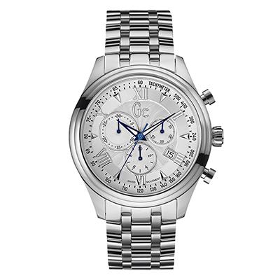 Reloj Guess colection analogo, para Hombre, tablero redondo color plateado, estilo index + romano, pulso metalico color plateado, calendario