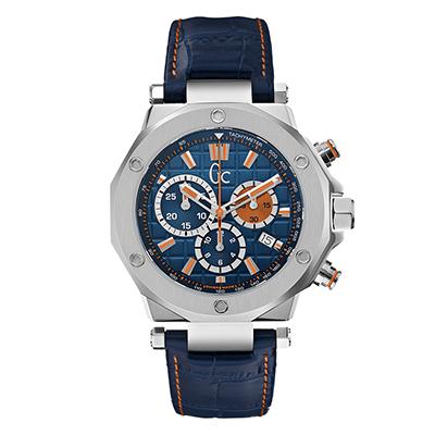 Reloj Guess colection analogo, para Hombre, tablero redondo color azul, estilo index, pulso cuero color azul, calendario