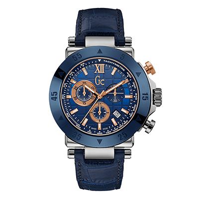 Reloj Guess colection analogo, para Hombre, tablero redondo color azul, estilo index + romano, pulso cuero color azul, calendario