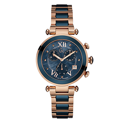 Reloj para Dama, tablero redondo, azul, puntos + romanos, analogo, pulso metalico metalico, calendario