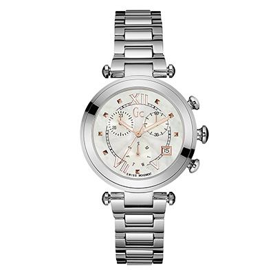 Reloj Guess colection analogo, para Dama, tablero redondo color gris, estilo puntos + romano, pulso metalico color plateado, calendario