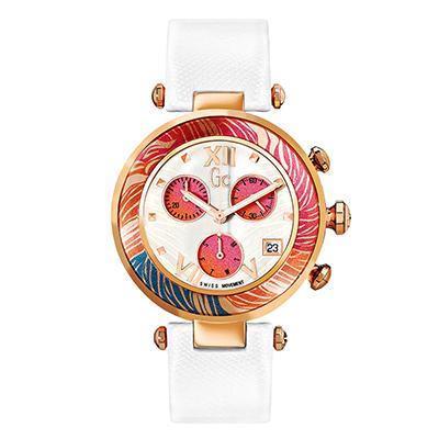 Reloj Guess colection analogo, para Dama, tablero redondo color gris, estilo puntos + romano, pulso cuero color blanco, calendario