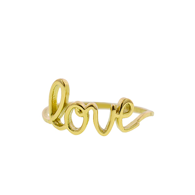 Anillo en oro amarillo de 18 Kilates, palabra love, liso.