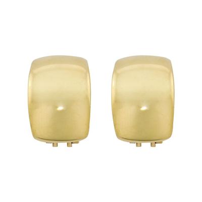 Aretes en oro amarillo de 18 Kilates abombado, 12 milímetros de ancho, con broche tipo omega