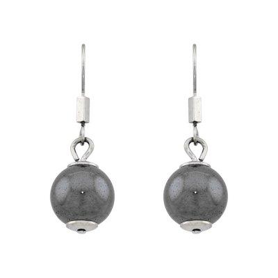 Aretes en acero, bola esmaltada gris, broche tipo gancho de la colección forza.