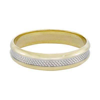 Argolla en oro amarillo de 18 Kilates rodinado visos plana, 4.5 milímetros de ancho