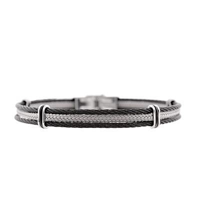 Aro en acero, 3 franjas en negro y gris, 10 milímetros de ancho de la colección forza