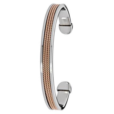 Aro en acero plano, 3 franjas rojizas, 7 milímetros de ancho de la colección forza.