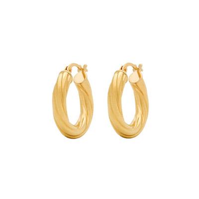 Candongas en oro amarillo de 18 Kilates melcocha, 19 milímetros de ancho