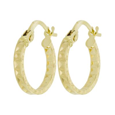 Candongas en oro amarillo de 18 Kilates visos plana, 2 milímetros de ancho