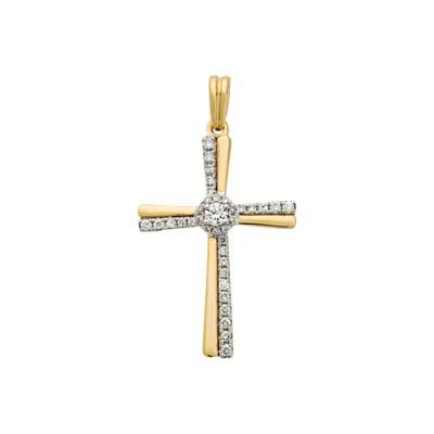 Cruz en oro amarillo de 18 Kilates con 36 diamantes de 0.23 Ct peso total, 17 milímetros de ancho.