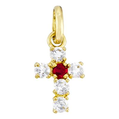 5716700004 - Cruz en oro amarillo de 18 Kilates, con rubis y zircones, 6 mm. de ancho
